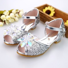 Ragazze Punta aperta finta pelle tacco basso Sandalo Scarpe Flower Girl con Fibbia Strass Glitter scintillanti