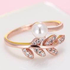 Mooi Imitatie Parel Zirkoon Koper met Imitatie Parel Dames Fashion Ringen