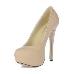 Женщины кожа Высокий тонкий каблук На каблуках Платформа Закрытый мыс обувь