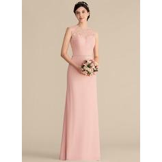 Vestidos princesa/ Formato A Decote redondo Longos Tecido de seda Renda Vestido de madrinha com Beading