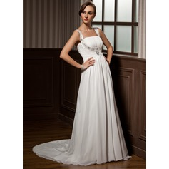 A-Line/Princess Scoop Neck Court Train Chiffon Wedding Dress With Ruffle Beading
