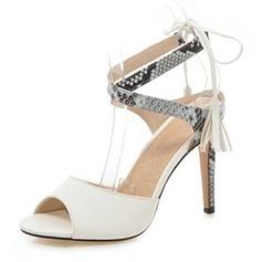 Women's Leatherette Stiletto Heel Sandals Pumps Peep Toe With Split Joint shoes
