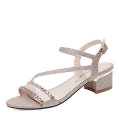 Kvinder Mousserende Glitter Stor Hæl Kigge Tå sandaler Slingbacks