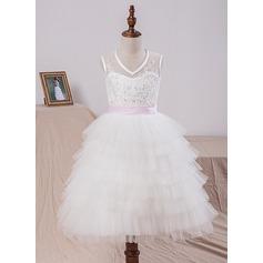 Forme Princesse Longueur mollet Robes à Fleurs pour Filles - Satiné/Tulle/Dentelle Sans manches Col V avec Ceintures/À ruban(s)