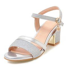 Kvinder Kunstlæder Mousserende Glitter Stor Hæl sandaler Pumps Kigge Tå med Spænde sko