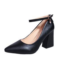 Kvinnor Tjockt Häl Pumps Stängt Toe skor