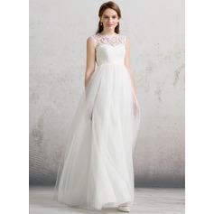 Forme Princesse Col rond Longueur ras du sol Tulle Robe de mariée