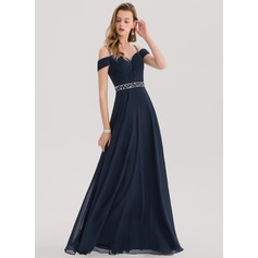 A-Line/Princess Sweetheart Floor-Length Chiffon Evening Dress With Beading Sequins (017153394)