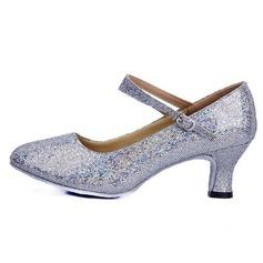 Женщины кожа Мерцающая отделка На каблуках На каблуках Обувь для Персонала Обувь для танцев