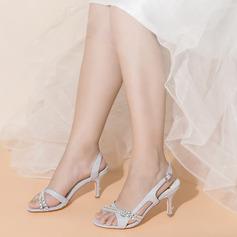 Kvinner Glitrende Glitter Stiletto Hæl Titte Tå med Spenne Rhinestone Crystal