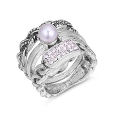 Mode Strasssteine Faux-Perlen Kupfer Damen Mode Ringe