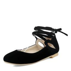 Donna Camoscio Senza tacco Ballerine con Allacciato Spalline intrecciate scarpe