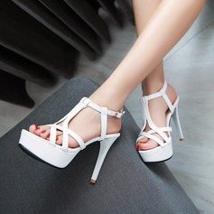 Women's Leatherette Stiletto Heel Sandals Pumps Platform Peep Toe With Hollow-out shoes
