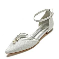 Frauen Satin Flascher Absatz Geschlossene Zehe Flache Schuhe Sandalen mit Stich Spitzen