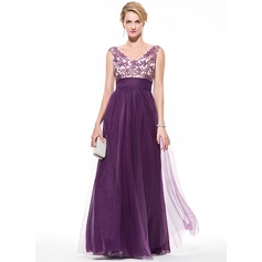 Empire V-neck Floor-Length Tulle Prom Dresses With Ruffle Beading Appliques Lace Sequins