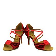 Femmes Dentelle Talons Latin avec Boucle Ouvertes Chaussures de danse