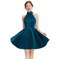 A-Line High Neck Short/Mini Satin Homecoming Dress