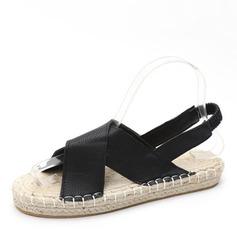 Женщины кожа Плоский каблук Сандалии На плокой подошве Открытый мыс с Эластичная лента обувь
