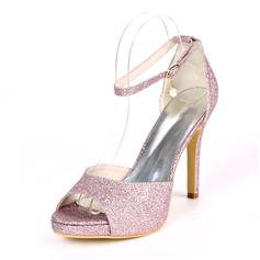 Kvinner Glitrende Glitter Stiletto Hæl Titte Tå Platform Pumps Sandaler med Spenne Imitert Perle