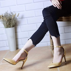 Women's Silk Like Satin Stiletto Heel Peep Toe Pumps Sandals With Buckle