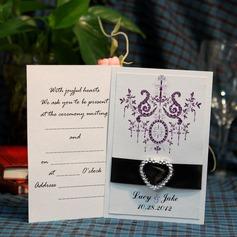 Персонализированные цветочный Стиль Плоская карта Invitation Cards с Ленты (набор из 50)