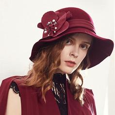 Damer' Iögonfallande/Nice/Charmen/Romantiskt Ull med Fauxen Pärla Diskett Hat