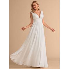 A-Line V-neck Floor-Length Chiffon Wedding Dress With Split Front