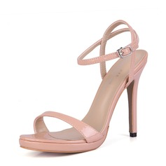 Frauen Lackleder Stöckel Absatz Sandalen Absatzschuhe Peep Toe Slingpumps mit Schnalle Schuhe
