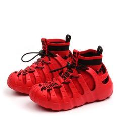 Fille de bout rond Bout fermé Bottines Tissu talon plat Chaussures plates Bottes Sneakers & Athletic avec Dentelle