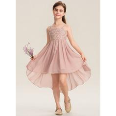A-Linie Rechteckiger Ausschnitt Asymmetrisch Chiffon Spitze Kleid für junge Brautjungfern (009173297)