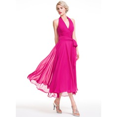 A-Line/Princess Halter Asymmetrical Chiffon Bridesmaid Dress With Ruffle Bow(s) (007087721)
