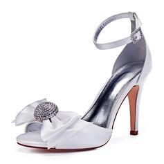 Women's Leatherette Stiletto Heel Peep Toe Pumps With Bowknot