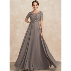 Corte A Decote redondo Longos Tecido de seda Renda Vestido para a mãe da noiva (008235587)