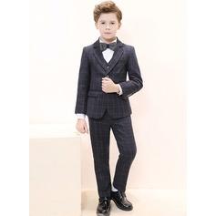 Muchachos 5 piezas Tela Escocesa Trajes para el portador del anillo /Page Trajes De Niño con Chaqueta Camisa Chaleco Pantalones Corbata de moño
