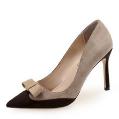 Donna Camoscio Tacco a spillo Stiletto Punta chiusa con Bowknot scarpe