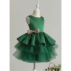 Ball-Gown/Princess Knee-length Flower Girl Dress - Tulle Sleeveless Scoop Neck With Ruffles/Bow(s)
