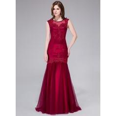 Trompete/Sereia Decote redondo Sweep/Brush trem Tule Vestido de festa com Beading Apliques de Renda lantejoulas