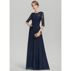A-Line/Princess Scoop Neck Floor-Length Chiffon Lace Evening Dress With Ruffle Sequins