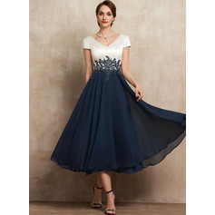 A-Line V-neck Tea-Length Chiffon Lace Mother of the Bride Dress (008225564)