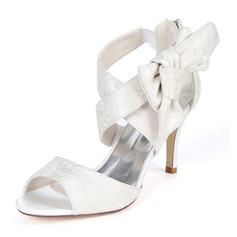 Kvinder Blonder Stiletto Hæl Pumps sandaler med Bowknot Lynlås Elastisk Bånd