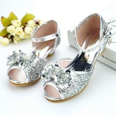 Mädchens Peep Toe Leder niedrige Ferse Absatzschuhe Blumenmädchen Schuhe mit Bowknot Schnalle Strass Pailletten Funkelnde Glitzer