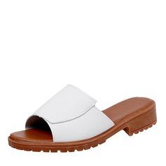 Женщины кожа Плоский каблук Сандалии На плокой подошве Открытый мыс Босоножки Тапочки обувь
