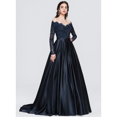 Ball-Gown Off-the-Shoulder Sweep Train Satin Evening Dress With Beading