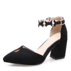 Women's Suede Chunky Heel Pumps Closed Toe Mary Jane With Imitation Pearl Flower shoes