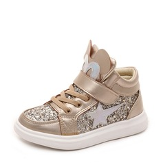 Girl's Round Toe Leatherette Sparkling Glitter Flat Heel Flats Sneakers & Athletic With Velcro