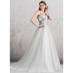 Платье для Балла V-образный Собор поезд Тюль Свадебные Платье с Рябь Кружева