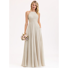 A-Line Scoop Neck Floor-Length Chiffon Lace Evening Dress With Pockets (017237016)