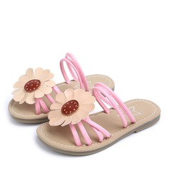 Girl's Peep Toe Leatherette Flat Heel Slippers With Flower