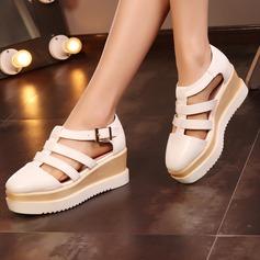 Femmes Similicuir Talon compensé Sandales avec Boucle Ouvertes chaussures