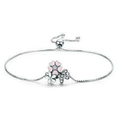 Platinpläterad Länk & kedja Brudarmband Bolo armband med blomma - Alla Hjärtans Gåvor Till Henne (106225125)